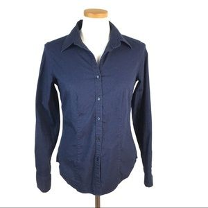 TALBOTS FITTED STRETCH BUTTON DOWN NAVY BLUE SZ 8